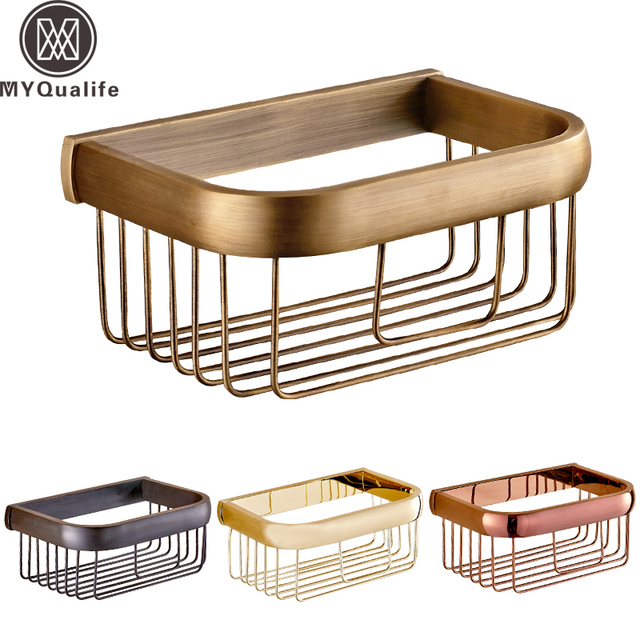 Multi-colors Wall Mount Bathroom Paper Tissure Basket Brass Toilet Roll Paper Holder 4-styles