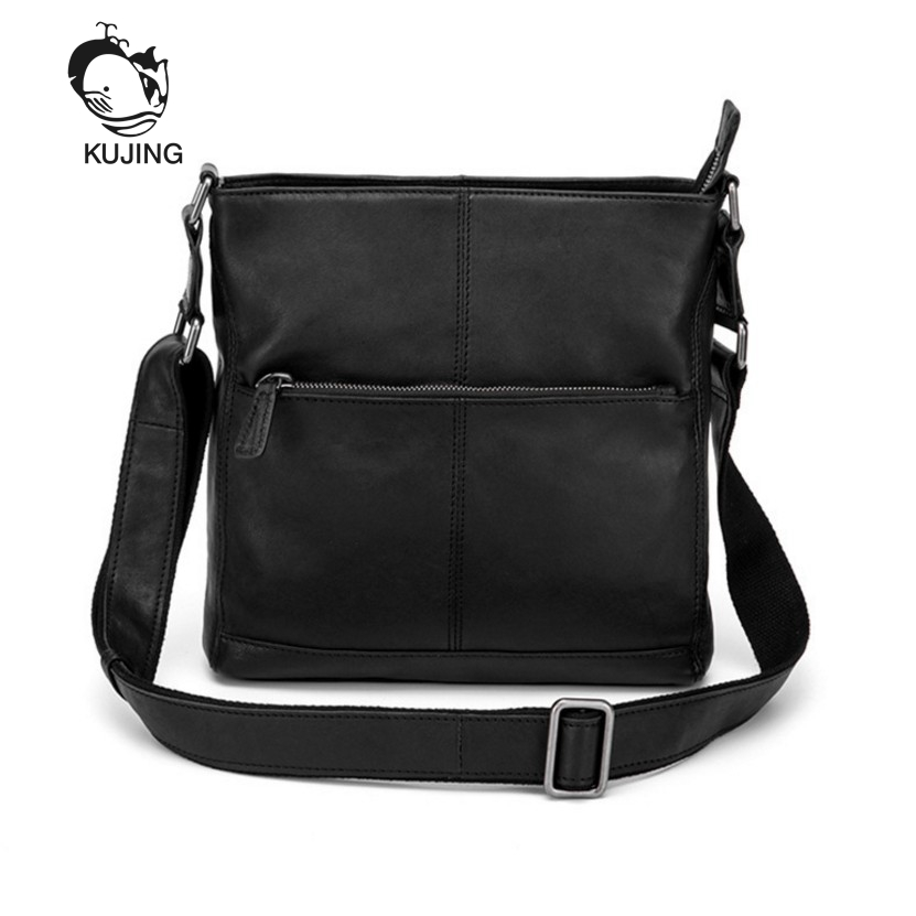 KUJING Brand Men's Bag Luxury Leather Men's Business Shoulder Bag Hot Travel Casual Messenger Bag Quality Retro Men Leather Bags kujing canvas men s bag high quality cowboy large capacity travel men handbag retro shoulder messenger bag luxury men casual bag