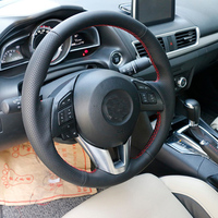 Free Shipping High Quality cowhide Top Layer Leather handmade Sewing Steering wheel covers protect For Mazda 3 Axela