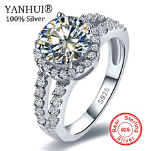 YANHUI Wholesale Real Solid 925 Sterling Silver Engagement Ring Fine Jewelry 2 Carat CZ Diamant Wedding Rings For Women JZR510