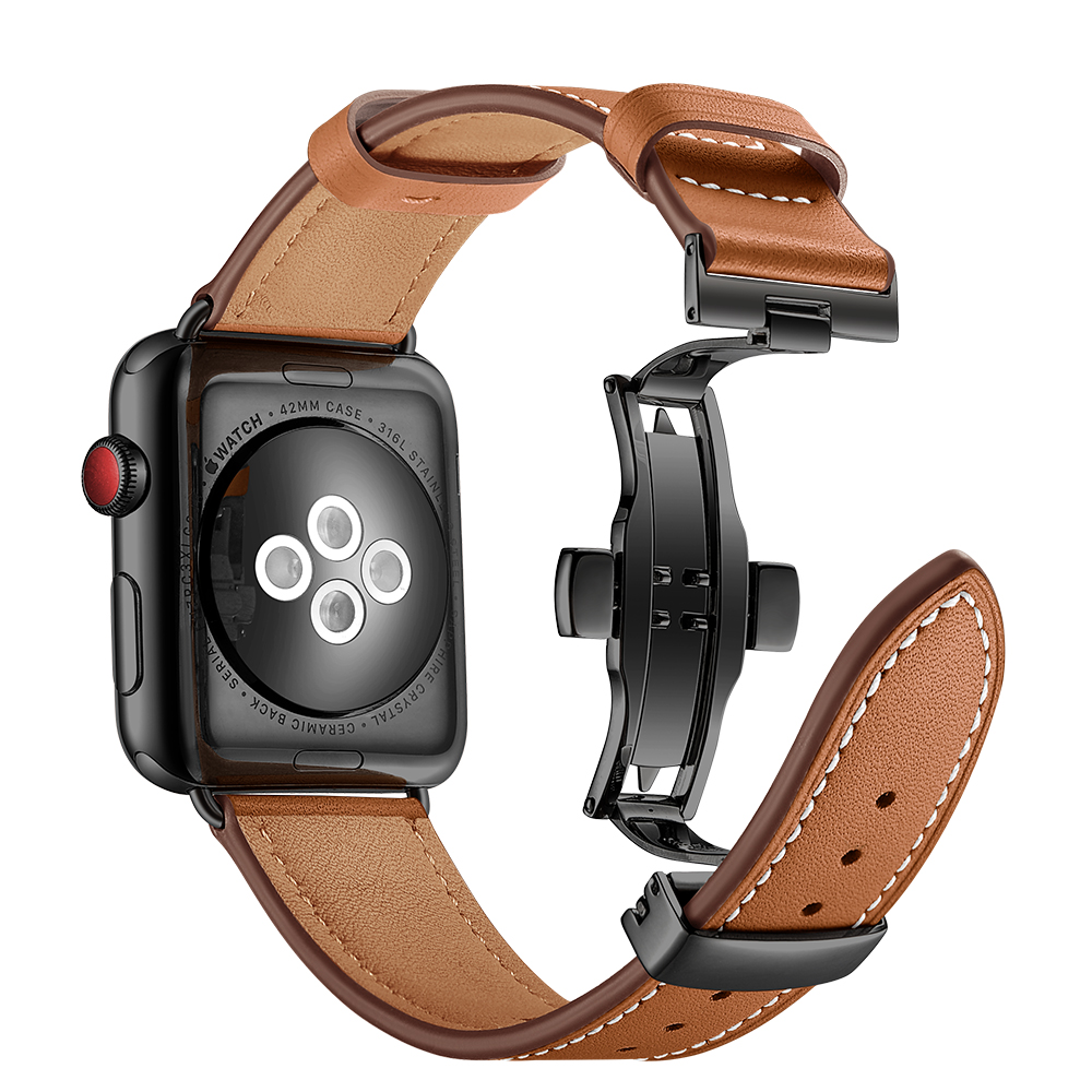 e45939834fe Brown Leather Black Butterfly Clasp Smartwatch Wristband 38mm 42mm Strap  For Apple Watch Series 1 2