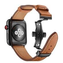 Marrom Borboleta Fecho de Couro Preto Pulseira Smartwatch 38mm 42mm Alça Para Apple Série Relógio 1 2 3 Substitutiva cintas de pulso