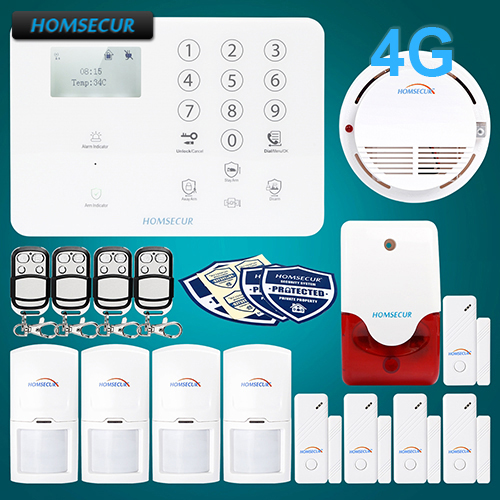 HOMSECUR Wireless&wired 4G LCD Home Security Alarm System+4*PIR+Door Sensor GA01-4G-W 2 4g wired
