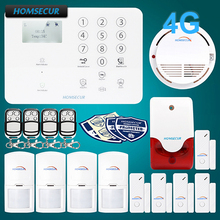 HOMSECUR Wireless&wired 4G LCD Home Security Alarm System+4*PIR+Door Sensor GA01-4G-W