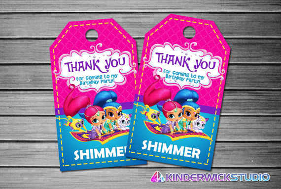 Personalized Shimmer And Shine Tags Thank You TagsGift Favors Birthday Party Decorations