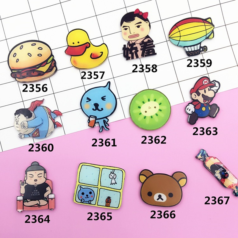 12 PC Cartoon Hamburger Duck Bear Brooch Acrylic Badges Icons On Backpack Pin Badge Decoration Suit For Bags And Clothing