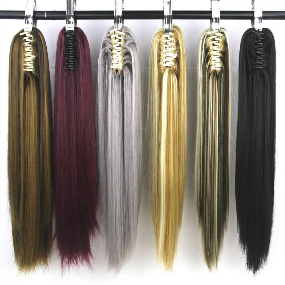 Soowee 22 дюймов прямые накладки для седых волос синтетические волосы коготь конский хвост маленький конский хвост аксессуары для волос