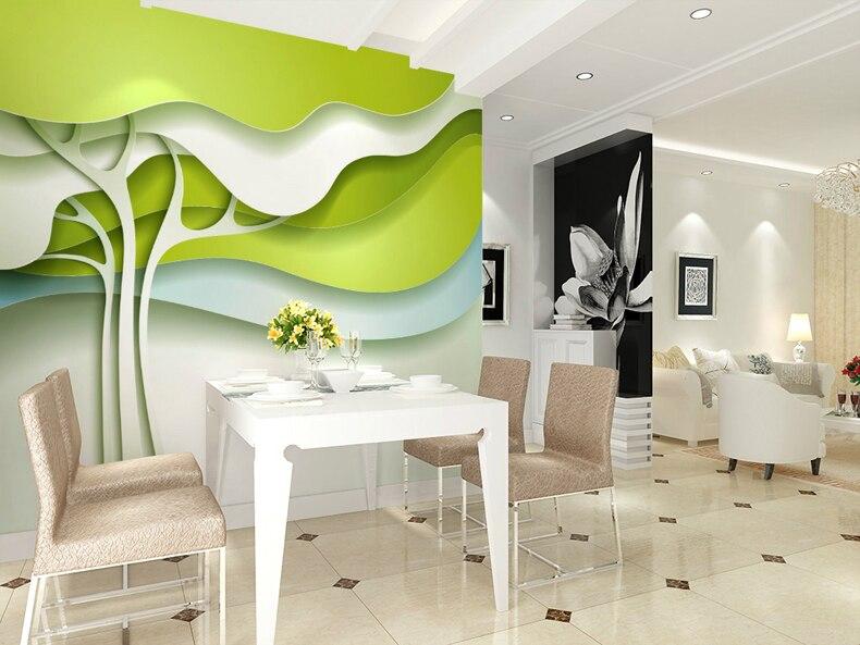 Papier peint mural vert Simple et élégant papier peint 3D stéréoscopique à grande échelle le salon chambre TV fond papier peint