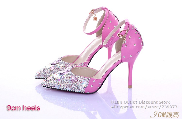 743edfc72e660 Bling sexy hot pink wedding sandals rhinestones two piece wedding ...