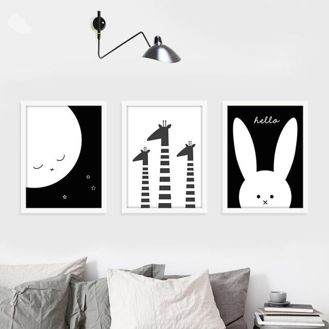 Modern Minimalist Nordic Black White Kawaii Animals Art Prints Poster Kids Room Home Decor Wall Picture Canvas Painting Sz886