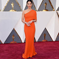 Oscars Awards Red Carpet Celebrity Dress Elegant One Shoulder Orange Mermaid Long Evening Gowns Vestido De Festa Longo CL-20