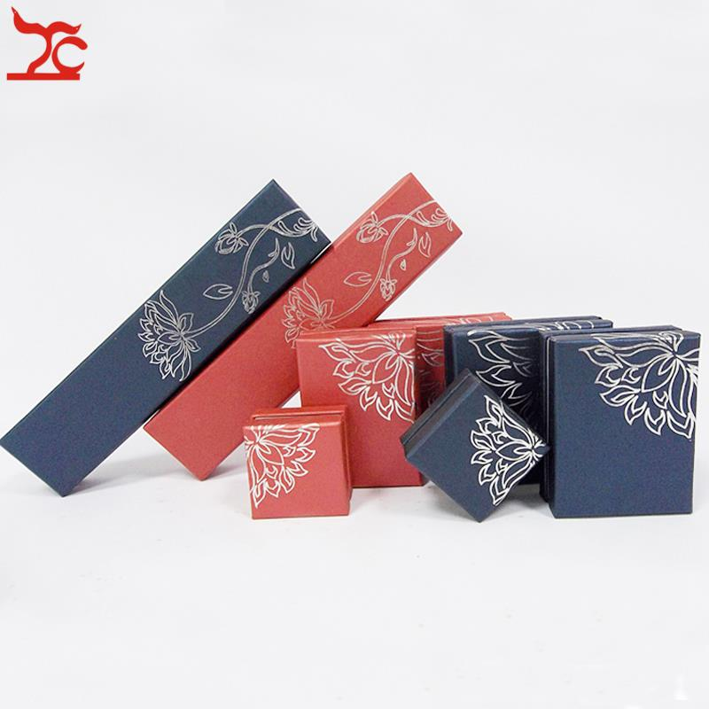 Personalized Set Jewelry Display Packaging Ornamental Box Cardboard with Lid Present Gift Organizer Case 8pcs/Lot