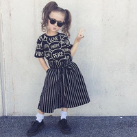 NEW selling 2pcs Kids girls spring Summer Clothes short Sleeve letter pattern Tops t shirt+ stripe Pants Outfits set