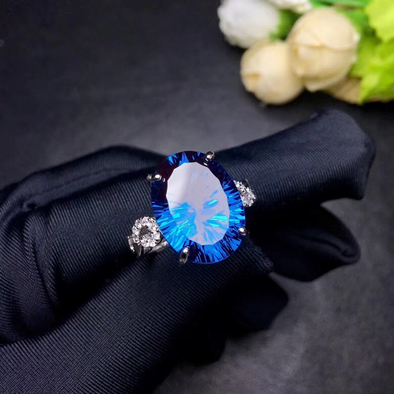 HTB1XpxQbu6sK1RjSsrbq6xbDXXaH - Uloveido Natural Blue Topaz Ring 10 Carat Gemstone 925 Silver Rings