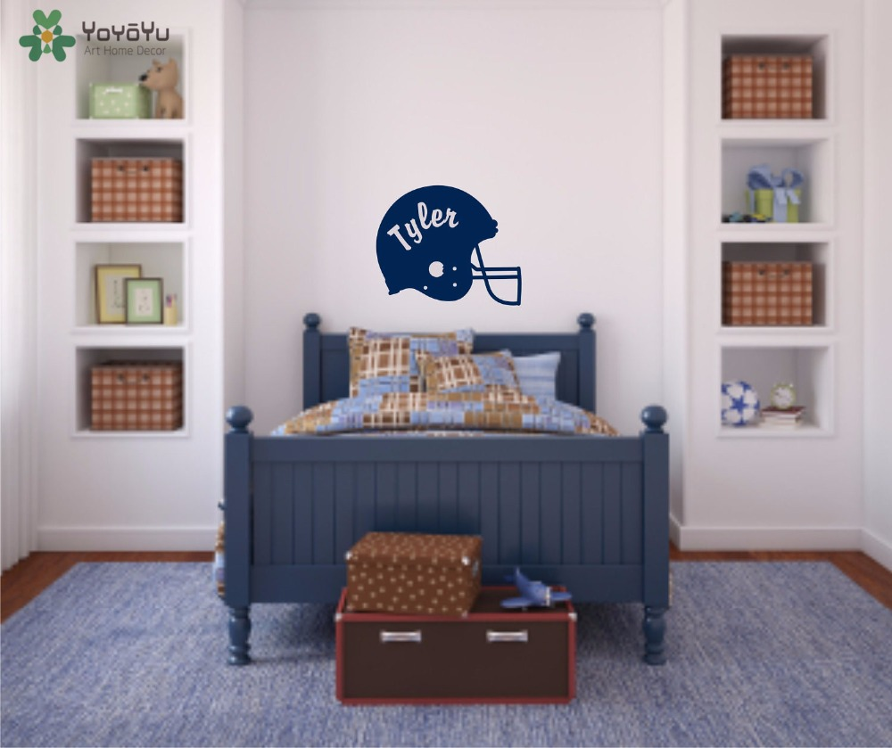 YOYOYU Wall Decal Personalized Name Vinyl Wall Stickers For Kid Room Football Helmet Pattern Art Design Interior Home DecorSY777