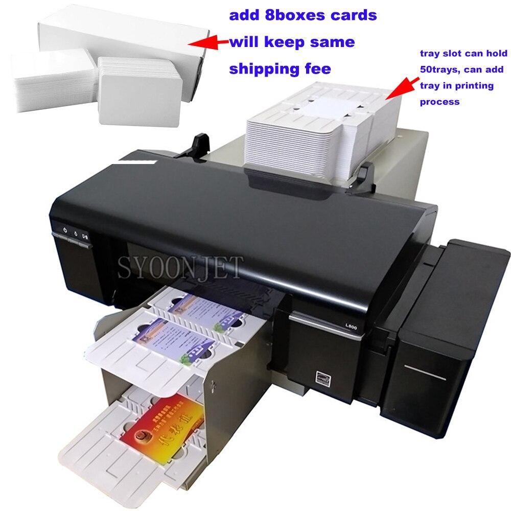 Automática PVC cartões de disco cd dvd impressora jato de tinta com 50 bandejas de cartão de pvc & caixas de bandejas de cd & 8 2 (1840 pcs) jato de tinta em branco cartões de pvc