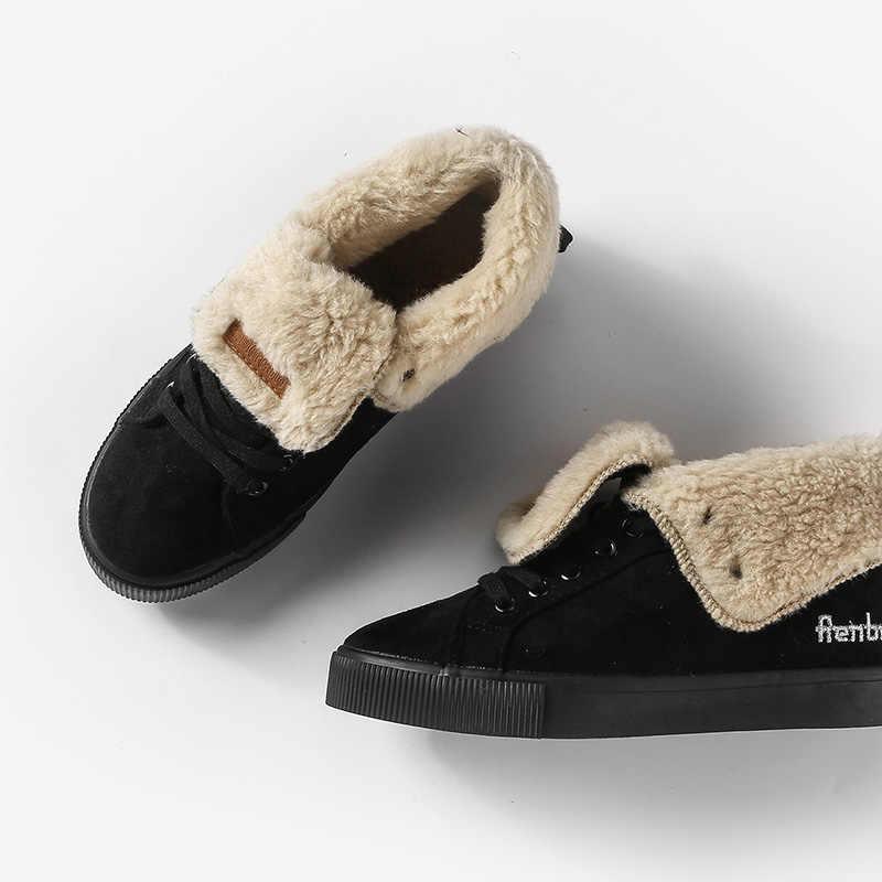 Inverno caldo Sneakers Stivali Donna Stivali Stivali Da Neve Botas Lace Up Mujer peluche Caviglia Delle Signore di Inverno di Scarpe Nero