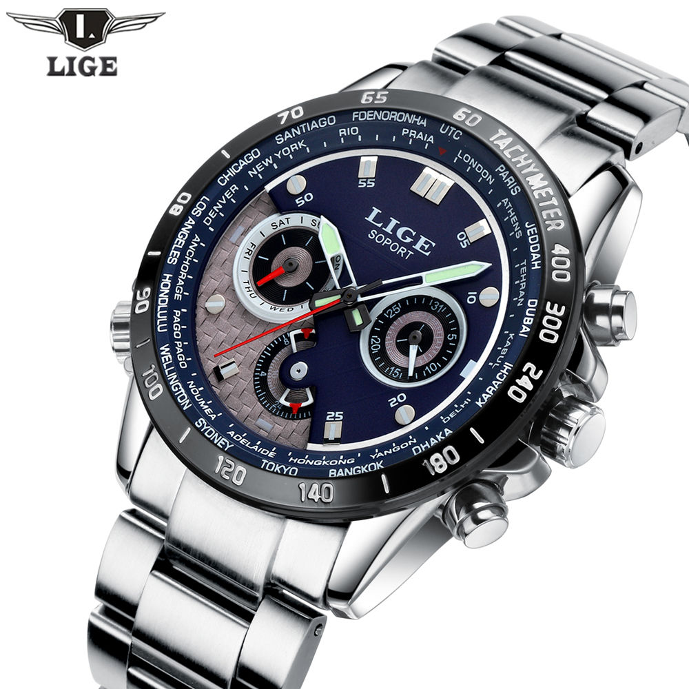 LIGE Quartz Military Sport Watch Men Luxury Brand Casual Watches Men's Wristwatch army Clock full steel relogio masculino 2017 customised electric guitar lp model with floyd black mahogany body and neck high grade build in customer specs way
