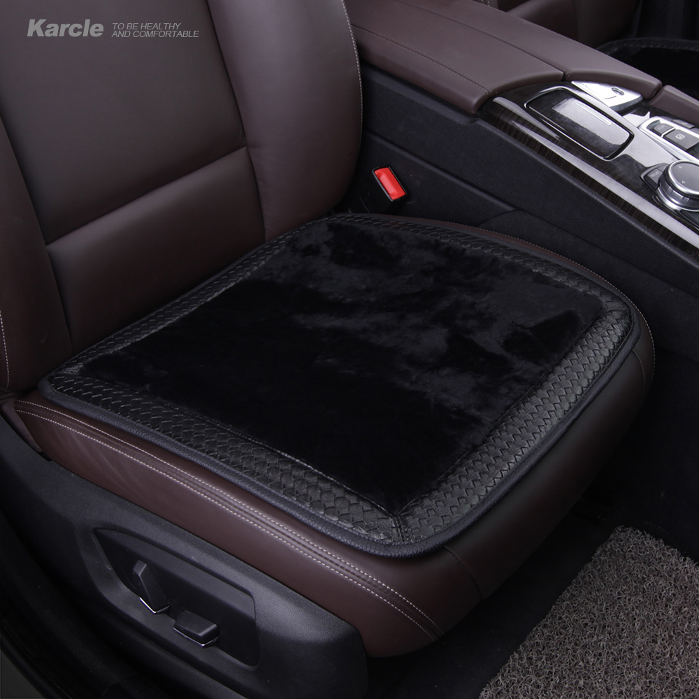 Karcle Sheepskin Fur Car Seat Covers Wool&Amp;Leather Seat Cushion ...