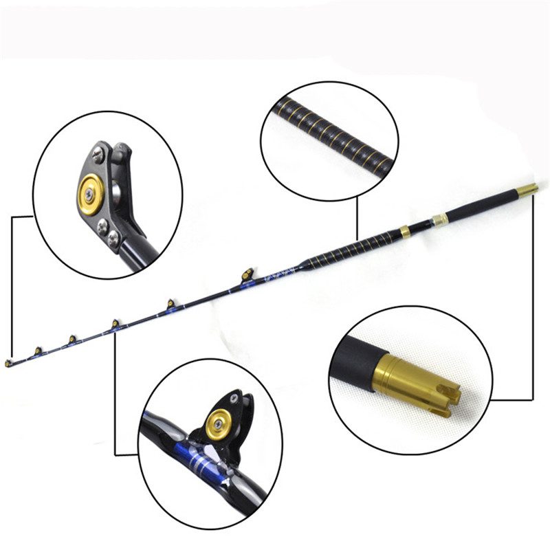 Boat fishing rod BlueSpear 30lbs 50lbs 5'6 leather fore grip nylon butt trolling fishing rods рубашка fore axel