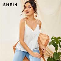 SHEIN Button Front Schiffy Cami Top 2019 Boho White Solid Ruffle Hem Eyelet Embroidery Summer V Neck Spaghetti Strap Vests