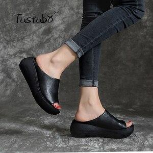 Image 4 - Tastabo 2019 yaz bayanlar terlik plaj ayakkabısı Vintage işçilik eğlence tarzı kalın tabanlı günlük ayakkabı rahat 40