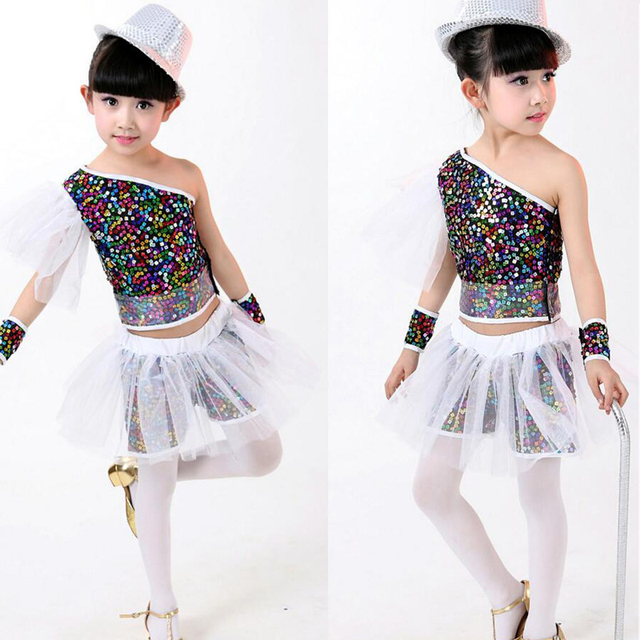 8518e4b77 Kids Sequined Hip Hop Dance Clothes Girls Jazz Tap Dancing Tops+ ...