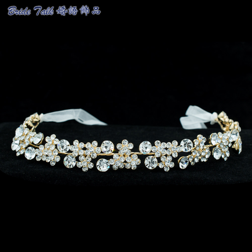 2016 Flower Rhinestone Crystals Headband Chain Ribbon Women Hair Jewelry Bridal Wedding Headpiece Accessories GX001