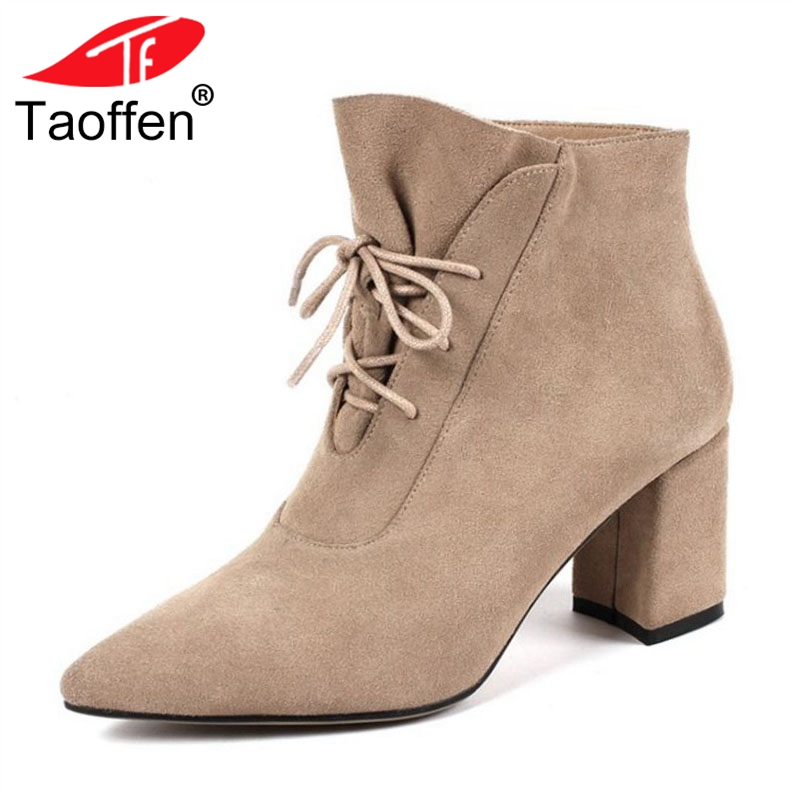 TAOFFEN Woman High Heel Boots Genuine Leather Woman Shoes Lace Up Ankle Boots Woman Elegant Shoes Woman Footwear Size 33-40TAOFFEN Woman High Heel Boots Genuine Leather Woman Shoes Lace Up Ankle Boots Woman Elegant Shoes Woman Footwear Size 33-40