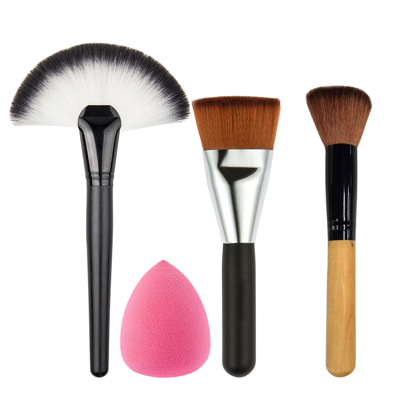 5 PCS/Set Makeup Powder Blush Foundation Brush+Sponge Puff+Large Fan Contour Brush Make Up Brushes Tool Cosmetics Kits jessup 5pcs black gold makeup brushes sets high quality beauty kits kabuki foundation powder blush make up brush cosmetics tool