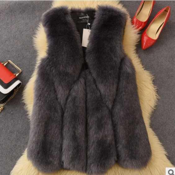 2019 Vetement de invierno de las mujeres abrigo imitación de piel de zorro peludo chaleco peludo Plus tamaño abrigo Lolita Slim impermeable Chaleco de peluche de juguete chalecos AW205
