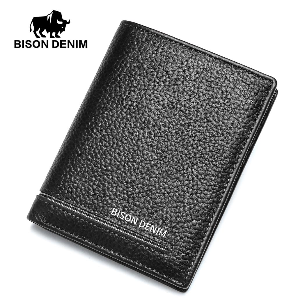 BISON DENIM Cow Leather Wallet Men Genuine Leather Purse For Men 2018 Fashion Male Card Holder Money Thin Mini Wallet N4480