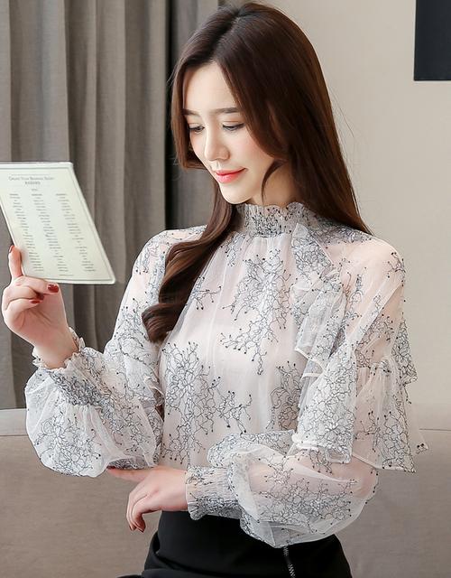 Dingaozlz Ruffles Lace Blouse 2019 New Elegant Casual  Printed Women Tops Fashion Perspective Chiffon shirt