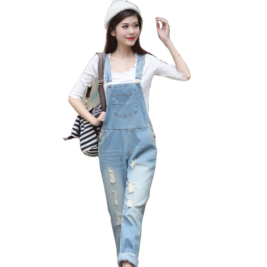 Free shipping New Womens Casual Washed Jeans Denim Jumpsuit Romper Pencil  Pants(light blue) Overalls S M L XL calcas 3d54435b1f