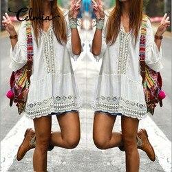 Celmia vestidos 2017 boho women summer white dress sexy casual v neck 3 4 flare sleeve.jpg 250x250