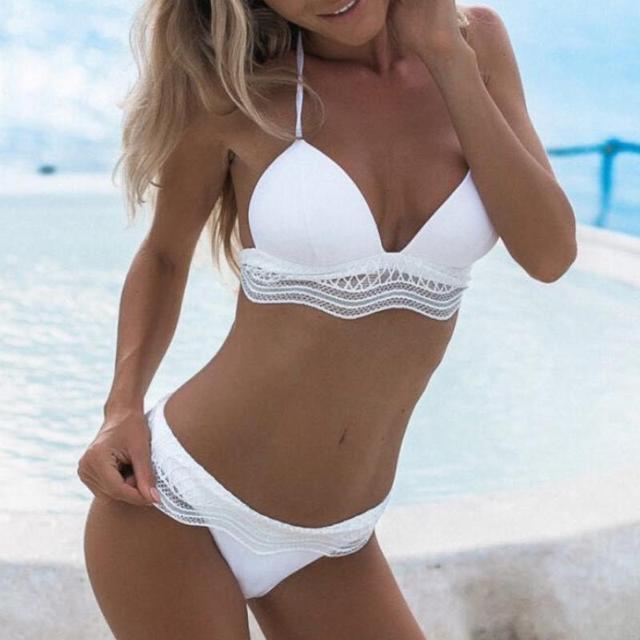 01ee5eb40 White Swimwear Women Lace Patchwork Bikini Set High Waist Halter Swimsuit  Push-up Padded Bra Fishnet Swimsuits Bathing Suit