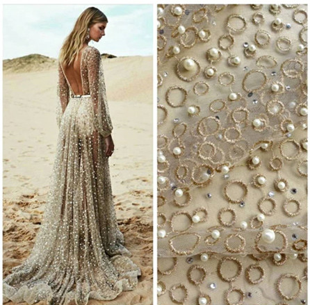 ss001# 5 yards stock good quality beads stone luxury fashion net tulle mesh lace for wedding /evening dress/haute couture