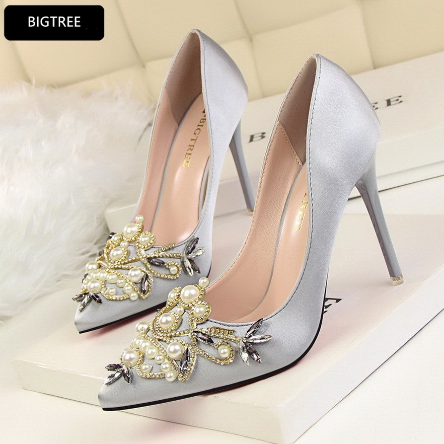 Vintage Sexy Party Shoes Fashion Pearl New 2018 Women Pumps High Heels Shallow Elegant Wedding Shoes Breathable Ultra Heel 10CM women silver high heels wedding shoes elegant rhinestone thin heel 10cm 8 5cm patent leather sexy pumps elegant sexy shoes