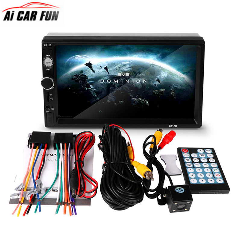 2Din Car Radio Car MP5 Player 7010B Touch Screen Auto Audio Stereo Multimedia Support Rear View Camera FM/MP5/USB/AUX/Bluetooth