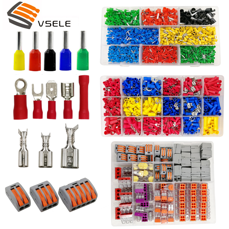 VSELE Tube Insulating Crimp Terminals Insulating Ring Terminals Plug Tab 2.8 4.8 6.3 Terminator Connector Block 9 Kinds Box Set