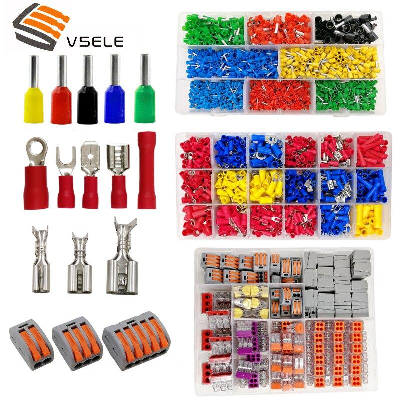 VSELE terminais 9 tipos box set tubo de isolamento/isolamento do anel/plug 2.8 4.8 6.3/XH2.54/conector bloco de terminais de cravar