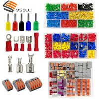 Vsele tubo de isolamento terminais de friso anel de isolamento terminais plug tab 2.8 4.8 6.3 terminator conector bloco 9 tipos caixa conjunto