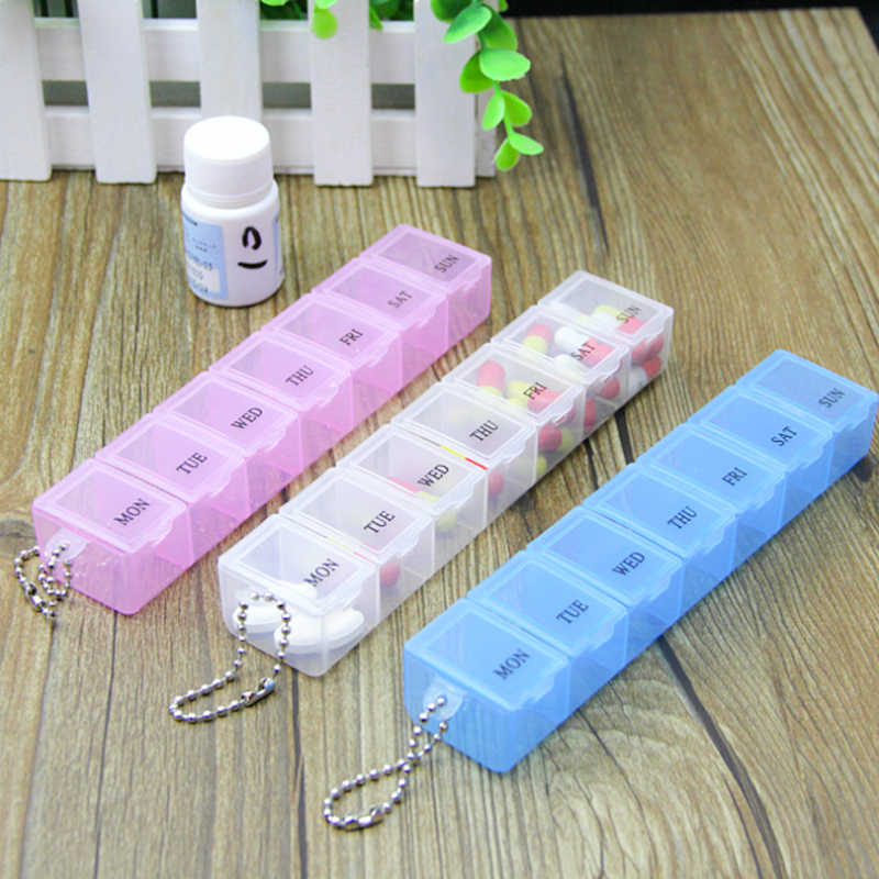 Wholesale Practical 7 Days Weekly Tablet Pill Medicine Box Holder Storage Organizer Container Case Pill Box Random color