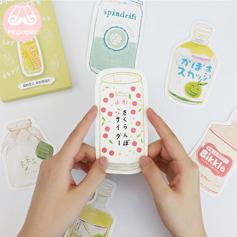 Mr.Paper 30pcs/box Japanese Style Irregular Postcard Kawaii Milk Juice Snack Postcards Fot Writing Greeting Gift Postcard