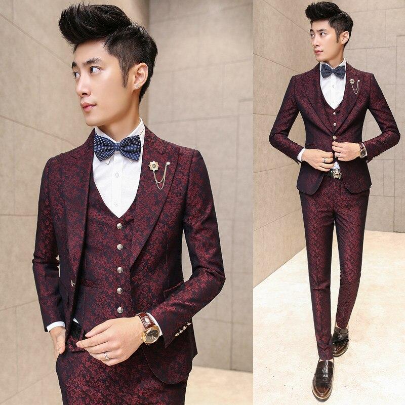 Koreanische Slim Fit Kleid In Vielen Stilen jacke + Weste + Hosen Süß GehäRtet Prom Männer Anzug Mit Hosen Rot Floral Jacquard Hochzeit Anzüge Für Männer 3 Teile/los