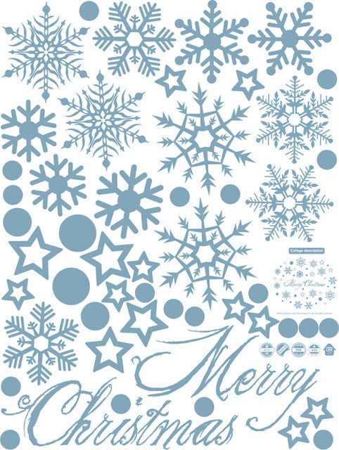Snowflake Wall Decal Merry Christmas Snow Spots Wall Sticker 3D Poster DIY  Christmas Tree Wall Decor Home Mall Window Decor M25