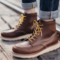 Men genuine leather quality  tooling boots male crafted martin boot Fashion first layer of leather men's boots botas hombre