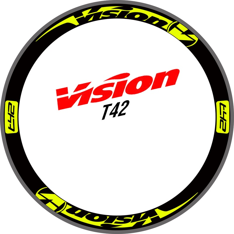 Two Wheels Set Stickers for Vision T42 for Road Bike Carbon Wheel Race Cycling Bicycle Decals 30mm 42mm 50mm mavi deemax mountain bike 26 27 5 29 inch bicycle two wheels set rim stickers for mtb vinyl race dirt replacement decals