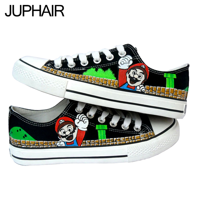 JUP 15 Styles Super Mario Bros Cartoon Despicable Me MinionTotoro Flag Man Hand Painted Canvas Shoes for Men Males Boys Footwear