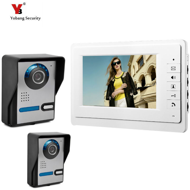 Yobang Security 7 Wired Video Door Phone System Visual Intercom Doorbell with 1*Monitor+2*Outdoor Camera for Home Surveillance yobang security free ship 7 video doorbell camera video intercom system rainproof video door camera home security tft monitor